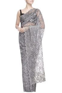Grey chantilly lace sari