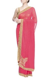 Pink sari with bugle bead work