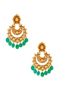 Green & white kundan jali earrings