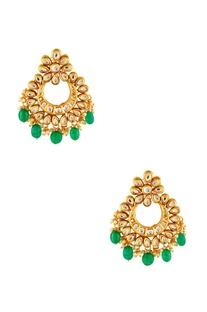 Gold plated green kundan earrings