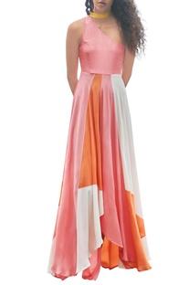 Orange, pink & white hand painted dress