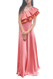 Pink & orange one shoulder pleated dress