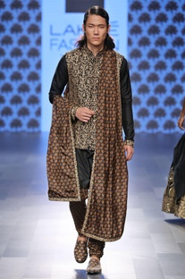 Black aari embellished Nehru jacket