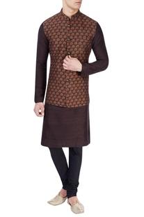 Black nehru jacket with saffron print