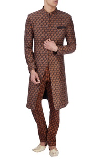 Black sherwani with orange tree print
