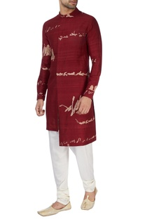 Maroon printed high low kurta