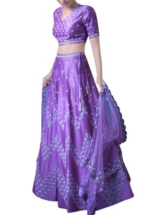 Lilac embroidered lehenga and blouse