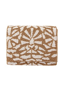Antique brown & white beaded clutch