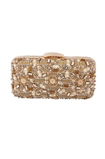 Beige bead embellished clutch