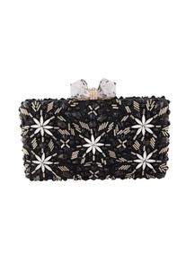 Black diamond motif clutch