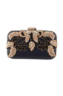Black floral bead embellished clutch