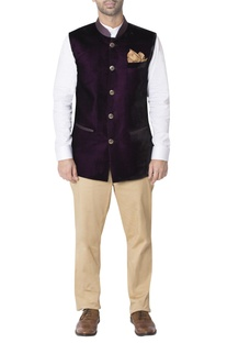 Purple nehru jacket with contrast pockets