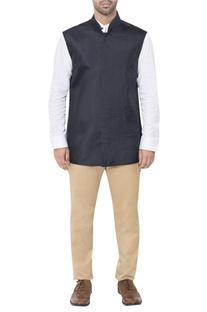 Blue pleated style nehru jacket