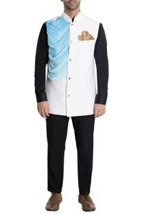 White nehru jacket with cowl drape