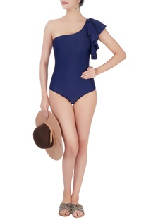 Navy blue one shoulder swimsuit