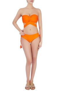 Orange twisted halter neck bikini