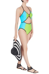 Lime halter neck swimsuit
