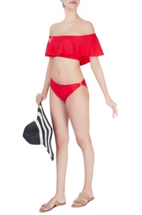 Red off shoulder ruffles swimsuit