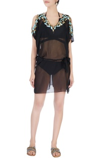 Black cold shoulder embellished kaftan
