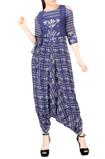 Blue & white dhoti jumpsuit