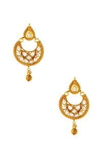 Gold plated kundan drop earring & maangtikka