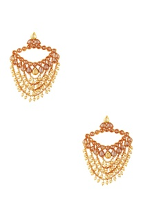 Gold plated pearl earrings & maangtikka