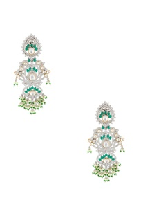 Silver kundan drop earrings