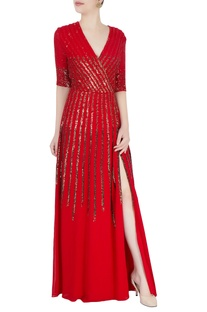 Red gown in sequin stripes