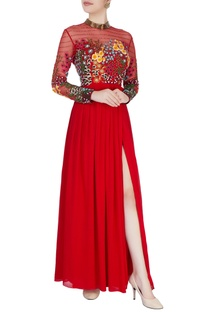 Red gown in floral 3D hand embroidery