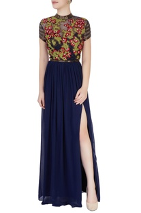 Navy blue gown in kardana embroidery