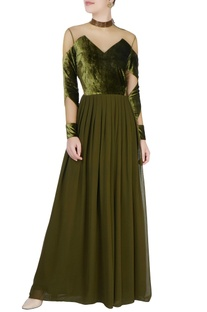 Moss green cutout gown