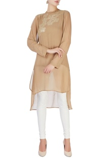 Beige high low style tunic