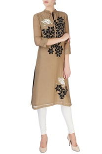 Brown kurta with silver sequin patches