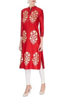 Red sequin embroidered tunic