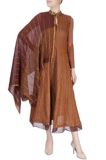 Dark brown tunic with attached drape