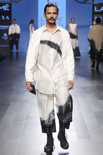 White & black jacket with trousers & shirt