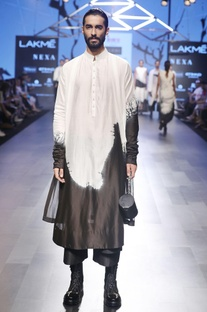 White & black kurta with trousers