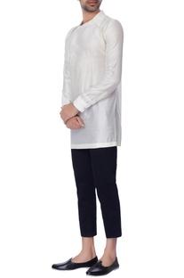 White collar chanderi shirt