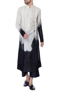 White & black double layered tie & dye chanderi kurta