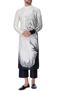 White & black nature inspired tie & dye embroidered kurta