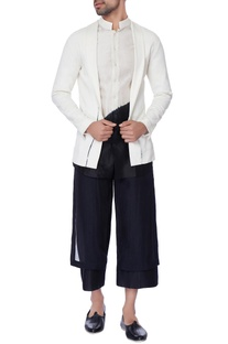 White front open chanderi jacket