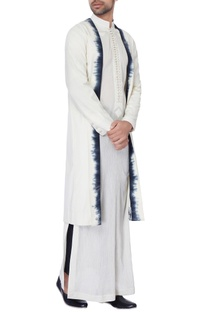 White & black long chanderi jacket