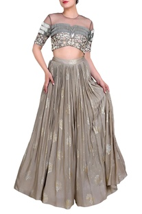 Grey embroidered blouse and lehenga