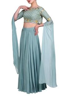 Powder blue cape blouse & lehenga