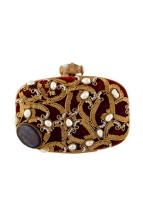 Maroon hand crafted brass clutch