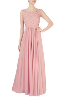 Pink embellished flared gown