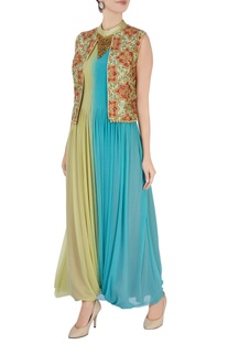 Blue & green embroidered jumpsuit