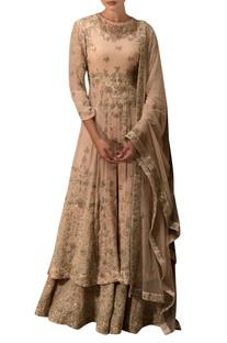 Beige embroidered kurta lehenga