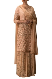 Peach embroidered kurta lehenga