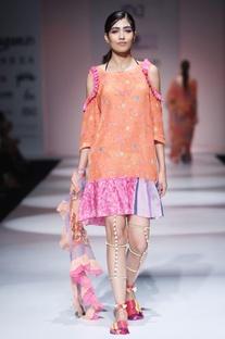 Orange & pink printed dress
